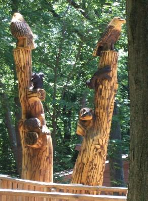 Tree carveing burned and stained