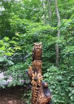Tree carving by chainsaw carver Jim Barnes